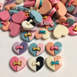 SA672: Heart with Bowknot Two Tone Resin 18x21mm, 20 pieces [ A1 ]