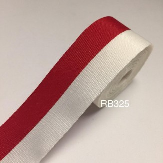 RB325: Red White Silk Ribbon 25mm, 5meter