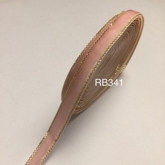 RB341: Pink Velvet with Gold Trim 10mm, 5 meter