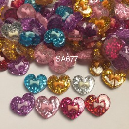 SA677: Heart with Bowknot Resin 17.5x21mm, 20 pieces [ B1 ]