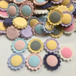 SA671: Sunflower Resin Cabochons 22mm, 20 pieces [ A9 ]