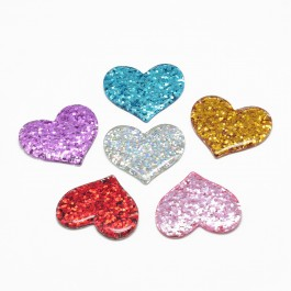 SA686: Heart Resin Cabochons with Glitter Powder 32x37mm, 20 pieces [ A20 ]