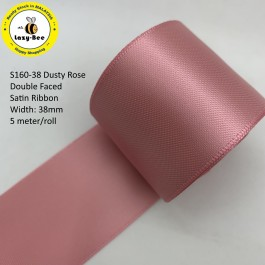 S160-38: DUSTY ROSE: Double Faced Satin Ribbon 38mm, 5Meter