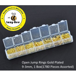 B09843: Open Jump Rings Gold Plated 9-3mm, 1 Box(1780 pieces Assorted)