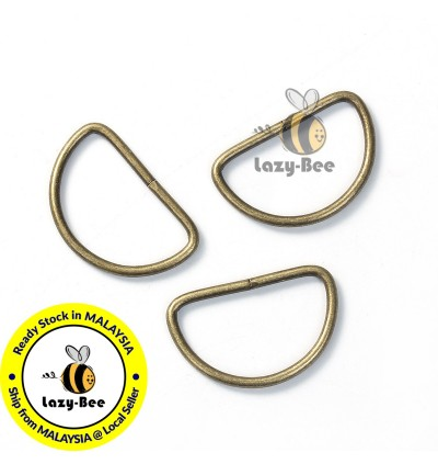 B0089285: 50 pieces Iron Based Alloy D Rings Fit Clothing Bag Making Antique Bronze 30x19mm [ B15 ]