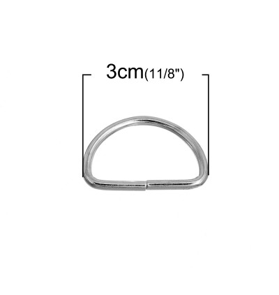 B0092484: Silver Alloy D Rings 30 x 19mm, 50 pieces/pack [ B11 ]