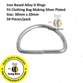 B0092484: 50 pieces Iron Based Alloy D Rings Fit Clothing Bag Making Silver Plated 30x19mm [ B11 ]