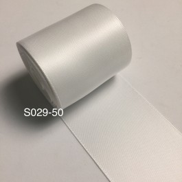 S029-50: WHITE: Double Faced Satin Ribbon 50mm, 5Meter