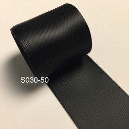 S030-50: BLACK: Double Faced Satin Ribbon 50mm, 5Meter