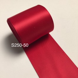 S250-50: RED: Double Faced Satin Ribbon 50mm, 5Meter