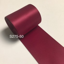 S275-50: WINE: Double Faced Satin Ribbon 50mm, 5Meter