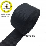 R030-25: BLACK: Grosgrain Ribbon 25mm, 5Meter