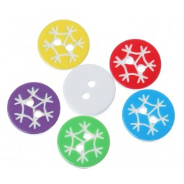 B39645B: Resin Buttons Round Mixed Pattern 13mm, 100 Pieces [ A11 ]