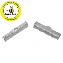 WS129733: Iron Based Alloy End Crimp Silver Plated 25mm, 50 Pieces