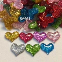 SA661: Heart with Glitter Powder 17x22mm, 20 pieces [ A10 ]