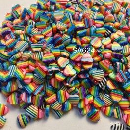 SA624: Heart Resin Striped Cabochons 10mm, 50 pieces [ A10 ]