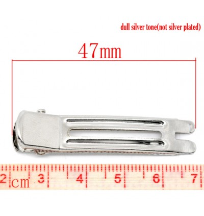 B10852: Silver Alloy Alligator Hair Clips 47x12mm, 30 pieces [ C7 ]