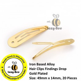 B0107818: 20 Pieces 49x14mm Drop Gold Plated Alloy Hair Clips DIY Hair Accessory [ B8 ]