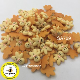 SA729: Gingerbread Man Resin 16.5x17mm, 10 pieces [ B18 ]