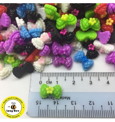 MC388: Bowknot Colorful Resin Cabochons 13x8mm, 50pcs [ A20 ]