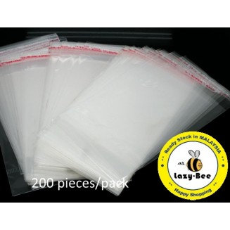 B05761: Clear Self Adhesive Plastic Bags With Hang Hole 13.5 x 8cm, 200 pieces