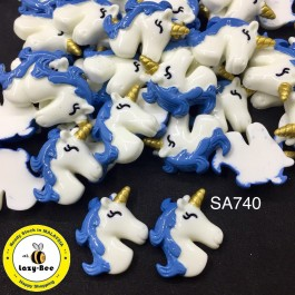 SA740: BLUE Unicorn 28x23mm, 5 pieces [ C8 ]