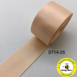 S714-25: PETAL PEACH: Double Faced Satin Ribbon 25mm, 5Meter