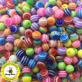 SA639: Round Striped Resin Beads 6x5mm, 100 pieces [ B9 ]