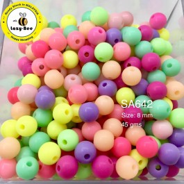 SA642: Round Opaque Acrylic Beads 8mm, 45gms (approx 280 pieces) [ C14 ]