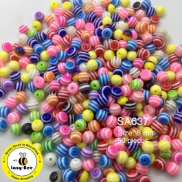 SA637: Round Striped Resin Beads 8x7mm, 50 pieces [ B7 ]