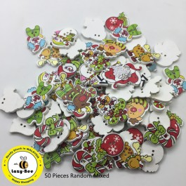 WB109: Mix X'mas Wood Button, 50 pieces [ B18 ]