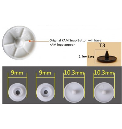 KM283: BLACK B5: T3 [10.3mm] KAM Glossy Snap Button Fastener DIY Clothing Button , 50 Sets [ L8 ]