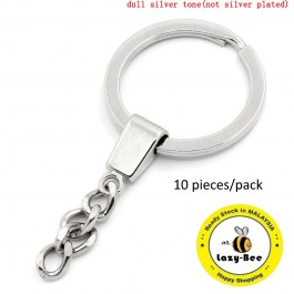 B23635: Round Silver Tone Key Chain 64x30mm, 10 Pieces [ B6 ]