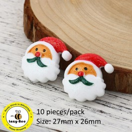 B0115321: Santa Claus White & Red Glitter 27x 26mm, 10 Pieces [ A12 ]