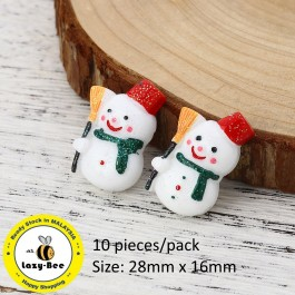 B0115322: Xmas Snowman White Glitter 28x16mm, 10 Pieces [ A7 ]