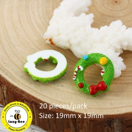 B0116776: Xmas Wreath Candy Cane 19x19mm, 20 Pieces [ B3 ]