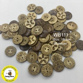 WB111: SaddleBrown Wood Button 18mm, 50 pieces [ B4 ]