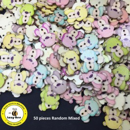 WB116: Bear Wood Button 27x20mm, 50 pieces [ C16 ]
