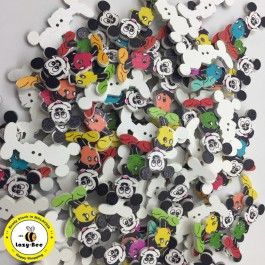 WB118: Micky Mouse Wood Button 35x23mm, 20 pieces [ B18 ]