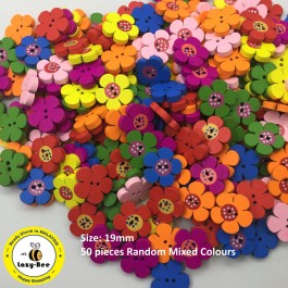 WB120: Dyed Flower Wooden Buttons 19mm, 50 pieces [ C3 ]