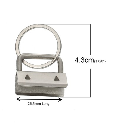 MC800: 20 pieces 24x26.5x12mm Silver Fabric Key Fob Hardware with Ring Iron Ribbon End Personalised DIY Craft Key Chain Key Ring