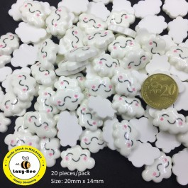 SA735: White Cloud Resin Cabochons 20x14mm, 20 pieces [ A17 ]