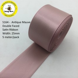 S164-25: ANTIQUE MAUVE: Double Faced Satin Ribbon 25mm, 5Meter