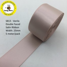 S813-25: VANILA: Double Faced Satin Ribbon 25mm, 5Meter