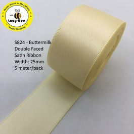S824-25: BUTTERMILK: Double Faced Satin Ribbon 25mm, 5Meter