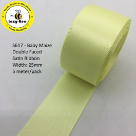 S617-25: BABY MAIZE: Double Faced Satin Ribbon 25mm, 5Meter