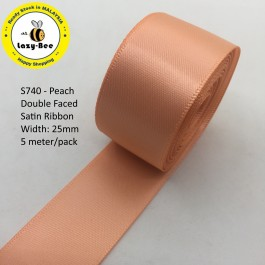 S720-25: PEACH: Double Faced Satin Ribbon 25mm, 5Meter