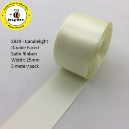 S820-25: CANDLELIGHT: Double Faced Satin Ribbon 25mm, 5Meter