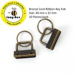 B0116813: Bronze Cord Ribbon Key Fob 44x 32mm, 10 Pieces [ C6 ]