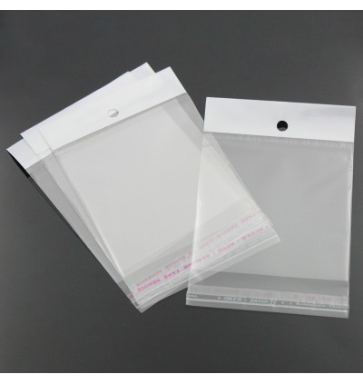 B23165: Plastic Self-Seal Bags W/ Hang Hole 13x7cm, 100 Pieces [ C6 ]